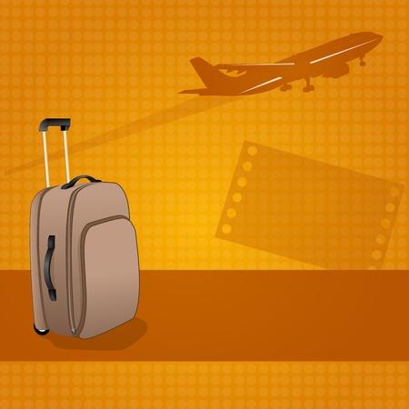 billets d avion: Illustration du sac de chariot sur fond de voyage