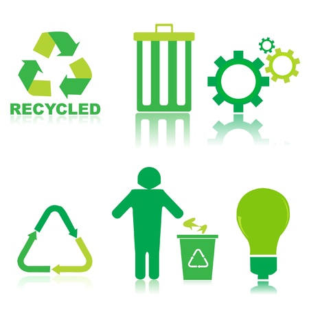 illustration of set of recycle icons on isolated background Vector