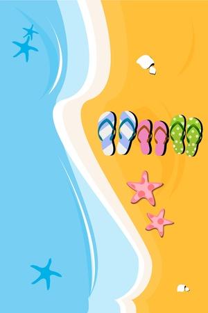 beach side: illustration of beach slippers on sea side