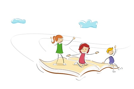 face book: illustration of kids flying on book and enjoying