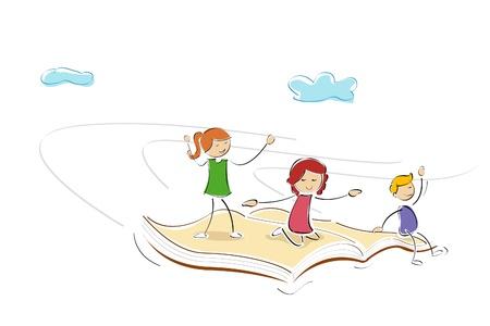 libros volando: Ilustraci�n de ni�os volando sobre el libro y goza de Vectores