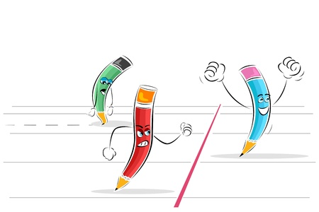 illustration of pencil race on isolated background Vector