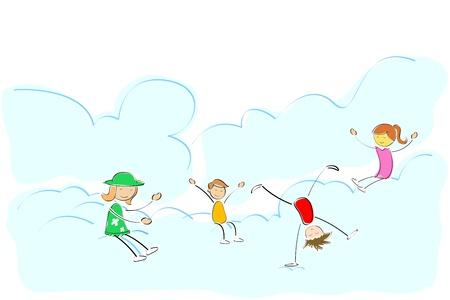 somersault: illustration of kids playing on cloud Illustration