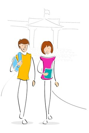 illustration of youngsters going to collage Vector