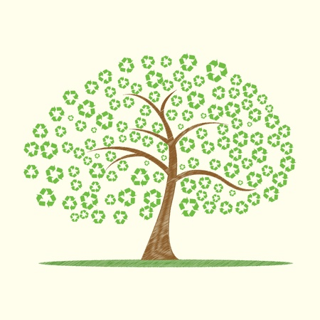 recycle symbol vector: illustration of vector tree with recycle symbol as leaves Illustration