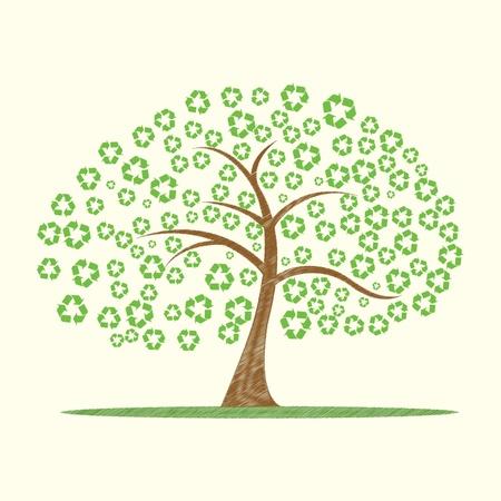 conciencia ambiental: Ilustraci�n de �rbol de vector con s�mbolo de reciclaje como hojas Vectores