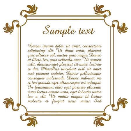 illustration of text template with floral frame