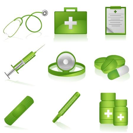 hilfsmittel: Set of medical Icons on isolated Background illustration Illustration