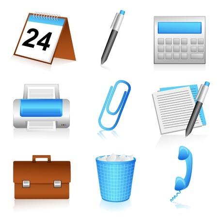 illustration of set of office icons on isolated background Vector