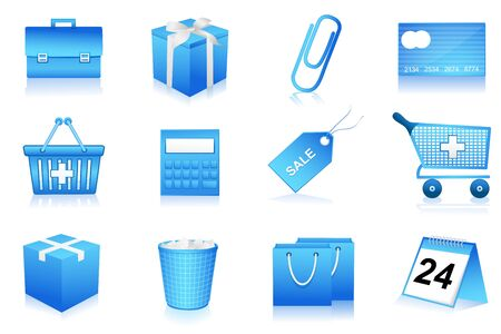 illustration of set of shopping and office icons on isolated background Vector