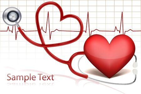 monitoreo: Ilustraci�n de estetoscopio alrededor de coraz�n con la l�nea de vida  Vectores
