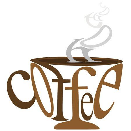 kroes: illustratie van koffiekopje en rook met tekst op geïsoleerde achtergrond Stock Illustratie