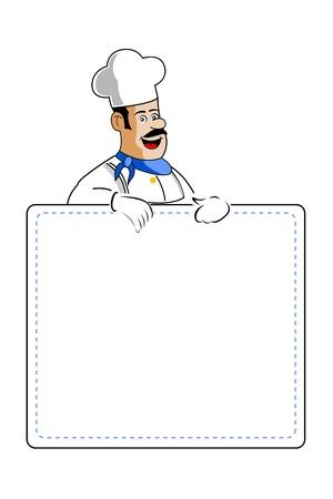 ustensiles de cuisine: Illustration du chef d�tenant une carte de cuisson sur fond blanc Illustration