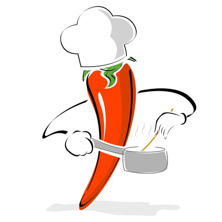 chili pepper: illustration of pepper chef cooking on white background Illustration