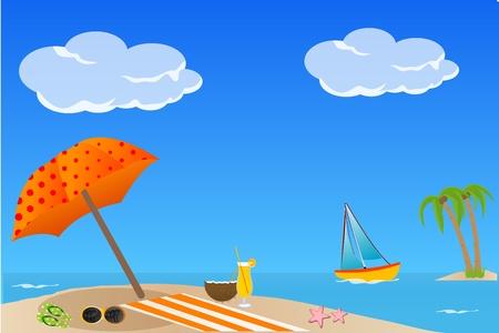 illustration of colorful sea beach Vector