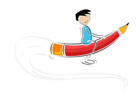 education concept: illustration of kid flying on pencil against white background