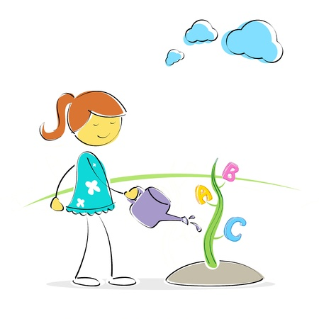 illustration of girl watering abc plant Stock Vector - 8247076