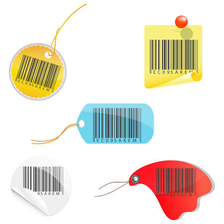 illustration of tag of barcodes on white background Stock Vector - 8247228