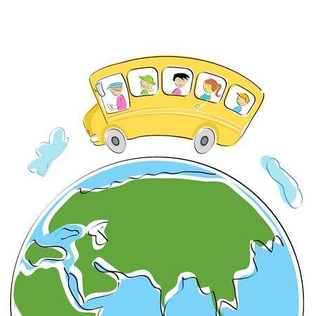 illustration of students in school bus on world tour Vector