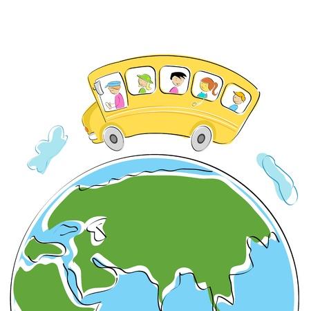 chofer de autobus: Ilustraci�n de los estudiantes en el autob�s escolar en gira mundial
