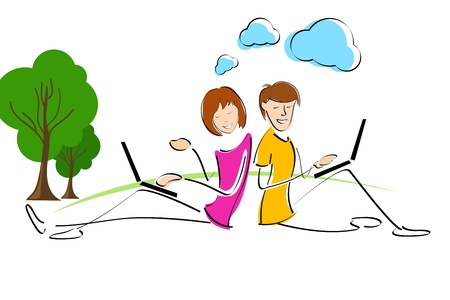 typing on laptop: illustration of working couples