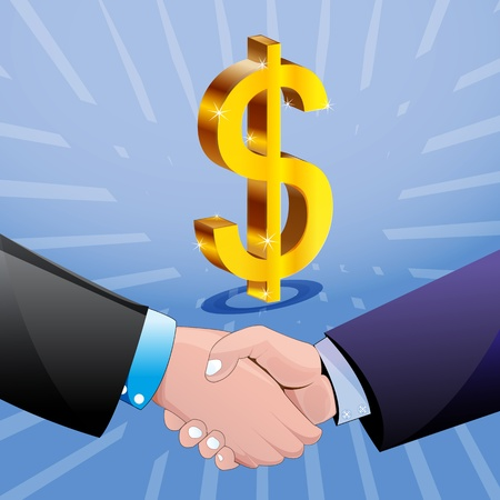 joined hands: illustration of handshake with dollar sign