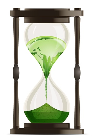 earth moving: illustration of eco hour watch on white background Illustration