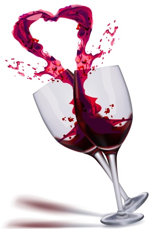 illustration of wine splashing from glass in the shape of heart