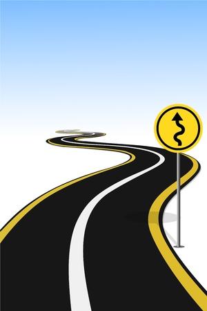 beside: illustration of road sign pole beside highway Illustration