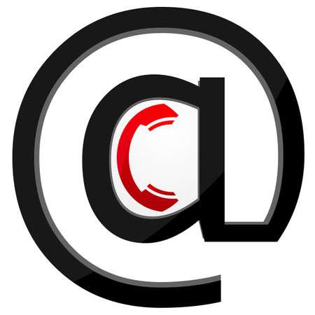 illustratie van ontvanger pictogram met e mail-symbool op witte achtergrond