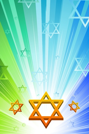 jewish celebration: illustration of happy hanukkah with star of david