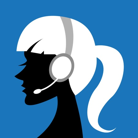 customer service phone: illustration of call center lady with headphone