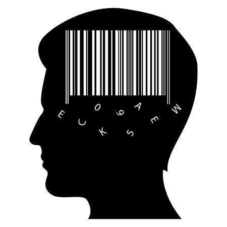illustration of mans mind with barcode on white background Vector