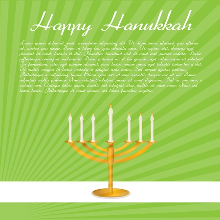 illustration of happy hanukkah card with candle Vector