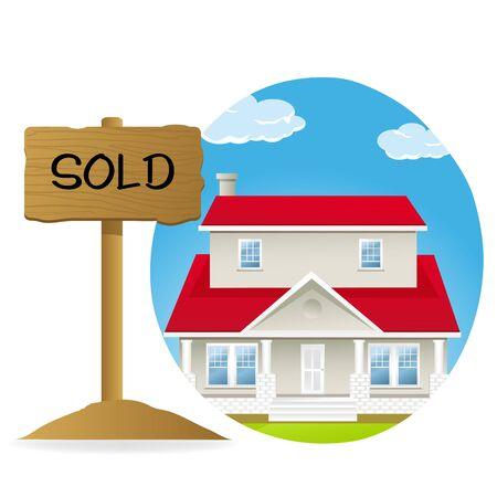 sell house: illustrtion of house for sell Illustration