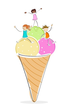 illustration of kids with ice cream on white background Stock Vector - 8247038