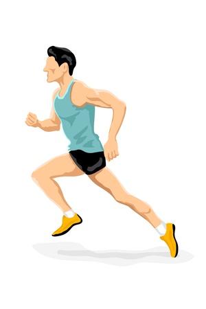 male athlete: illustration of athlete running on white background