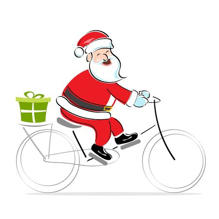 speed ride: illustration of santa on cycle wishing merry christmas on white background
