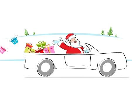 distributing: illustration of santa distributing gifts riding in car