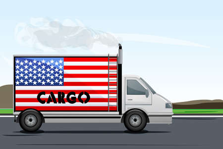 illustration of cargo truck on road with american flag Stock Vector - 8247738