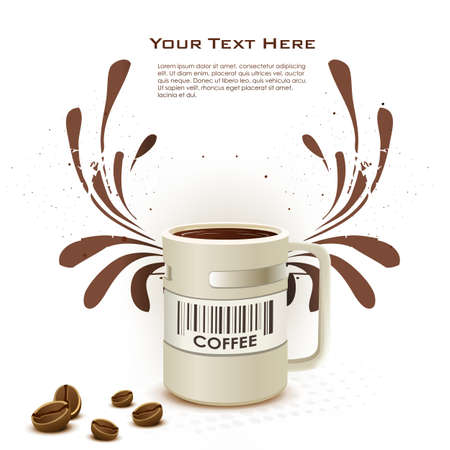 illustration of coffee card with cup on white background Vector