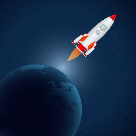 launcher: illustration of rocket in universe Illustration