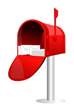 postbox: illustration of letter box with letters on white background