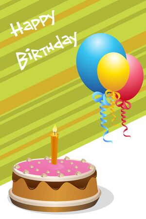 illustration of birthday card with cake & balloons Stock Vector - 8247201