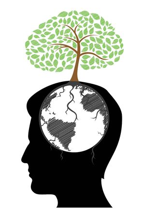 knowledge concept: illustration of mans mind with tree on white background Illustration