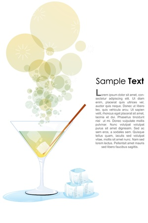 illustration of cocktail glass with ice and sample text Stock Vector - 8247645