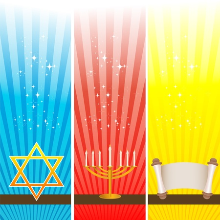 shalom: illustration of hanukkah card
