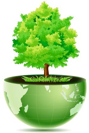 wereldbol groen: illustratie van groene wereld bol met gras & boom op witte achtergrond