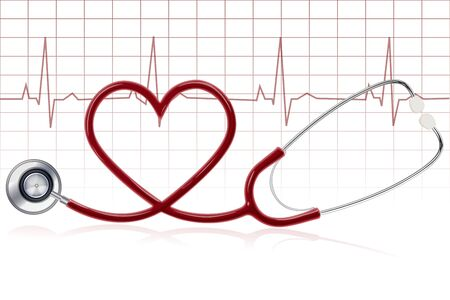 heart beat: illustration of healthy heart with stethoscope on white background