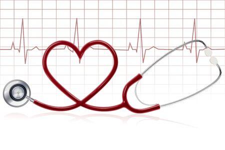 sickness: Ilustraci�n de un coraz�n sano con estetoscopio sobre fondo blanco